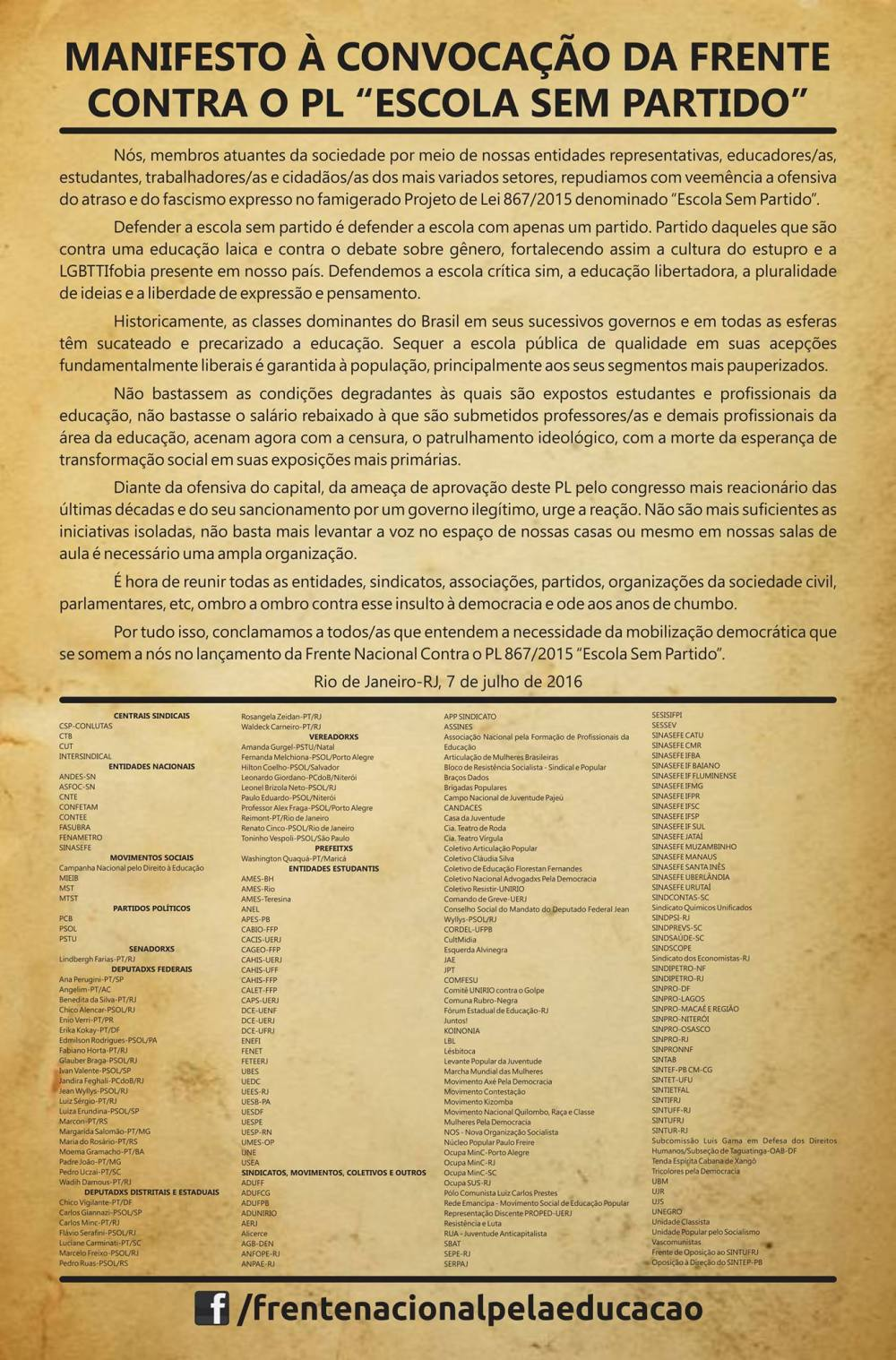2016- manifesto da FCPESP