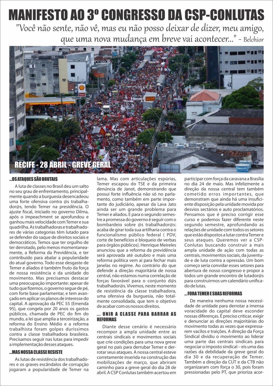 2017 - Folha de rosto - Manifesto CSP Conlutas